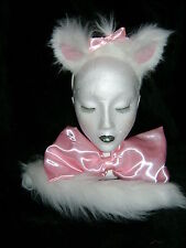 Aristocats Cat Fancy Dress - Marie Ears,Tail & Pink Satin Bow Collar Faux Fur