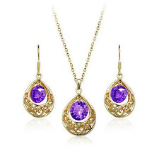 Gold and Purple Hollow Teardrop Jewellery Set Drop Earrings & Necklace S473
