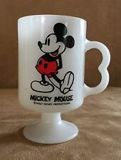 Milk Glass Mickey Mouse Mug white pedestal double finger handle cup vintage