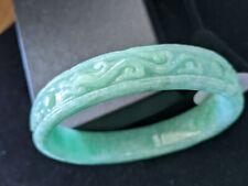 Stunning, Genuine, Jade Bangle Bracelet - Hand-carved