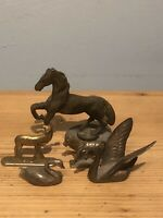Antique/Vintage Brass Animal Collection Horses/deer/duck/swan Collectable metals