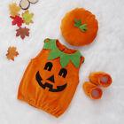 0-24 Month Baby Girls Boys Halloween Costumes Sleeveless Pumpkin Romper Bodysuit