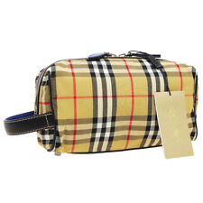 BURBERRY Check Pattern Cosmetic Bag Pouch Brown Black Canvas Leather BN04189
