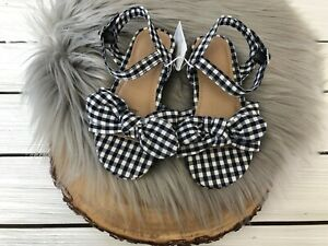 NWT Old Navy Girl's Canvas Bow Tie Mini Wedge Sandals in Blue Gingham - 6 7 8 9