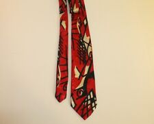 Vintage Ambiance Neck Tie Abstract Design Red, Black and Cream- FREE SHIPPING