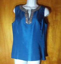 Ann Taylor blouse sleeveless blue sequins size small NWT