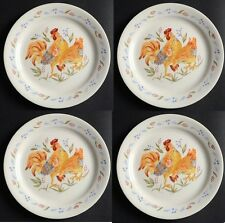 """New! Set of 4 Corelle COUNTRY MORNING 9"""" Lunch Plate - ROOSTER (White)"""