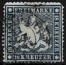 AD Württemberg _ MiNr. 20 y _ 18 Kreuzer _ aktueller BPP Befund _ gestempelt