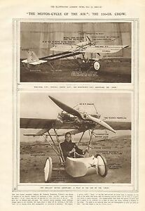 1919 ANTIQUE PRINT- MOTOR CYCLE OF THE AIR-THE 220LB CROW