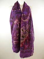 f+Original Design A Damen Schal Großes Tuch Stola  lila mehrfarbig m.Fransen