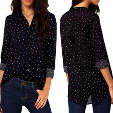 Damen Bluse LangArm Shirt T-shirt Kariert Hemd Tunika Hemd V-Neck Tops Blusen