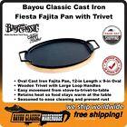 Cast Iron Fiesta Double Fajita Pan with Wooden Tray Trivet by Bayou Classic 7409