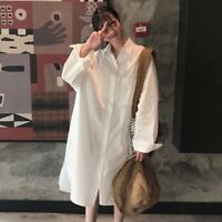 Lady Shirt Dress Blouse Oversized Casual Loose Baggy Pocket Cotton Botton Casual