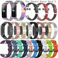 For Huawei Honor Band 5 Milanes Stainless Steel Leather Silicone Wristband Strap
