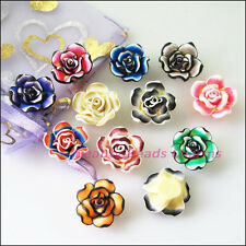 10Pcs Mixed Handmade Polymer Fimo Clay Flower Spacer Beads Charms 20mm