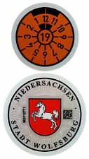 German License Plate Registration Seal - Wolfsburg VW 2019 Set