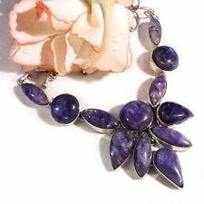 violetter Mondstein lilac Collier Kette 925 Silber UNIKAT Gothic Necklace