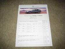 """Mercedes clase e t-modelo s210 lista de precios Price List """"de 05.03.1996"""