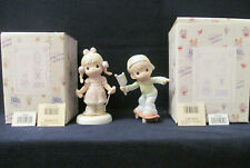 Precious Moments Member Figurines Jumping for Joy # Pm991 & God's Speed # Pm992