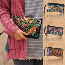 Retro Women's Ethnic Embroidered Wristlet Clutch Bag Handmade Boho Purse Wallet