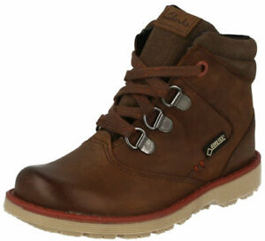 Clarks DAY HI GTX Boys Brown Leather Waterproof Goretex Boots 11 - 4 FG Fit BNIB