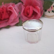 Antique SMALL dressing table cut glass pot sterling silver lid HM Chester 1923