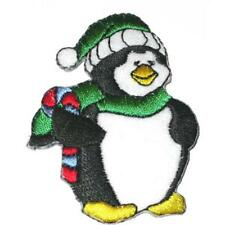 Penguin with Green Hat Iron On Applique x 1