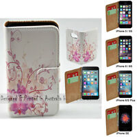 For Apple iPhone Series Case Purple Orchid Print Wallet Mobile Phone Case Cover