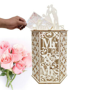 Wedding Card Box Mailbox Receptions Baby Shower Wooden Hexagon Collection New