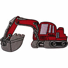 Iron On Digger Patch / Sew On Embroidered Excavator Badge for Kids Jackets Jeans