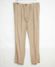 "WOMANS TAN 100% LINEN PANTS ELASTICATED WAISTBAND TIE CORD 39 1/2"" SIZE 14"