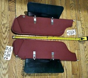 1971-76 OEM GM ORIGINAL Cadillac Buick DEEP RED Sun Visors -Excellent Condition