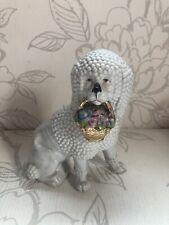 Vintage Pudel & Korb Von Blumen Sammelobjekt Deko /Hund Figur
