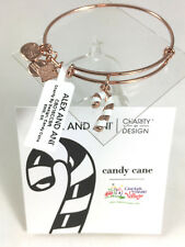 NEW Alex and Ani Candy Cane Charity By Design Rose Gold Finish Bangle  NWT