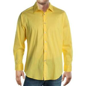 Alfani Mens Dress Shirts Yellow Small S 14-14 1/12 Slim Fit Button Down $60 001