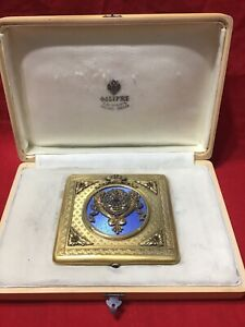 Russian Empire Antique Silver Diamond  Enamel Cigarette case