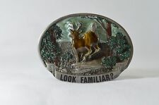 Vintage C&J 1433 Belt Buckle Look Familiar? Deer Hunter Missed Shot 1988 Heavy