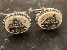 New ListingSterling Silver Scrimshaw Maritime Themed Cufflinks