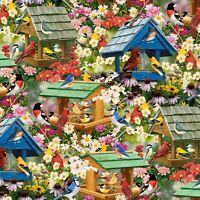 Spring Again, Garden Birds Cotton Sewing Quilting Fabric David Textiles ~Yard~