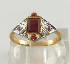 CLASS 9K 9CT GOLD BLOOD RED RUBY DIAMOND ART DECO INS DIAMOND FACE RING FREE Sz