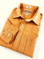 TOMMY HILFIGER Shirt Men's Tan Orange Heavy Oxford Size M Custom Fit Long Sleeve