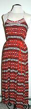 Lucky BRAND Women's Tribal Geometric Maxi Dress Size S Red 7wd6887