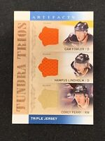 2014-15 UPPER DECK ARTIFACTS FOWLER/LINDHOLM/PERRY TRIPLE JERSEY TUNDRA TRIOS