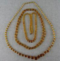 Vintage Czech Art Deco Amber Glass Necklace Long Lot 3