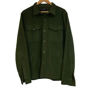 J Crew Polar Fleece Overshirt Green Pockets Long Sleeve Collared Lightweight L
