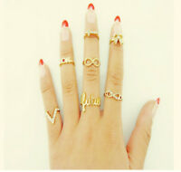 7Pcs New Charm Mix Top Fashion Knuckle Gold Cut Above Ring Band Midi Rings Gift