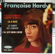 EP 45 TOURS FRANCOISE HARDY C'EST A L'AMOUR AUQUEL JE PENSE VOGUE 8047 languette