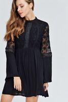 VELZERA BOHO BLACK LACE FULL LINED GYPSY BLOUSON BABYDOLL MINI DRESS TUNIC S M L