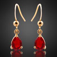Neu Modeschmuck Geschenk Gelbgold Vergoldet Zirkonia Rot Rubin Birne Ohrringe