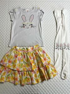 Gymboree Girls Spring Jubilee Bunny Shirt, Skirt, and Tights Size 8